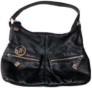 Michael Kors Black Leather Shoulder Bag A-1004 Gold Hardware Hobo Purse