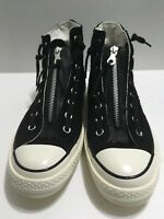 Converse Zipper High Sneaker Black Leather Suede Sz 8 Men's  Sz 10 Women's 8