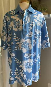 Mens MONTEREY CLUB Polo Golf Golfing Shirt Blue & White Hawaiian Print Sz L NWOT