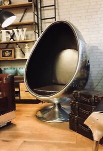 Aviator Swivel Egg Pod Chair Vintage Brown PU Leather UK August 2021 Delivery