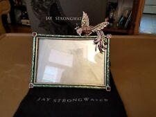 "Estate Jay Strongwater 4"" x 6"" Enamel Bird of Paradise Crystal Frame"