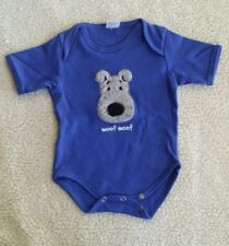 Infant Blue One Piece with Fuzzy Face Puppy Dog 6-12 Mo North American Bear NWOT