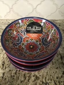 4 IL MULINO NEW!!! MELAMINE Footed Bowls Red Spanish Tile Floral Medallion