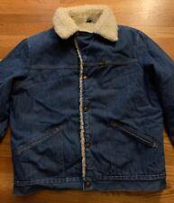 Vintage 70s Maverick Trucker Blue Denim Fleece Lined Snap Button Jacket. Size L