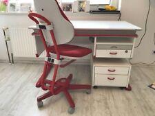 Schreibtisch Moll Winner weiß-rot inklusive Erweiterung, Rollcontainer und Stuhl