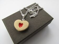 Handmade Novelty Fun Fimo Jammie Dodger Heart Biscuit Pendant Necklace *