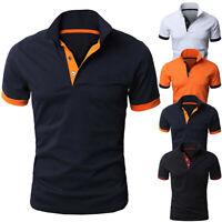 Fashion Men Cotton Short Sleeve Shirt V-neck Casual Slim Fit Polo Tee Shirt Tops