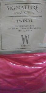 WAMSUTTA SIGNATURE PINK PIMA COTTON TWIN-XL FITTED SHEET  300TC COUNT