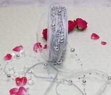10m Perlengirlande (1,29 €/m) Perlen Organzaband Satinband Schleifenband silber
