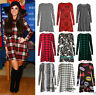 Womens Red Green Tartan Check Print Long Sleeve Swing Skater Dress plus size8-26