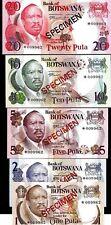 BOTSWANA 1 2 5 10 20 PULA P1 2 3 4 5 1979 BIRD UNC SPECIMEN SET ANIMAL BANK NOTE