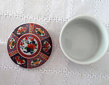 Lovely Imari Roundtrinket Box Dish With Lid Floral Pattern Signed