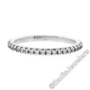 14K White Gold 0.17ctw F VS1 Shared Prong Set Diamond 1.90mm Stackable Band Ring
