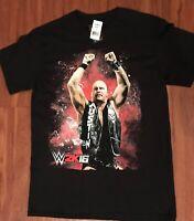 Stone Cold Steve Austin 2K16 black m T-shirt WWE WWF Wrestling