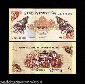 BHUTAN 5 NGULTRUM P28 2015 X 100 Pcs Lot BUNDLE DZONG DRAGON UNC MONEY BANK NOTE