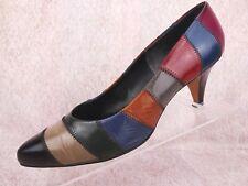 Vtg 80s Garra Villa Multi-Color Leather Patchwork Pump Retro Fashion Heels 10