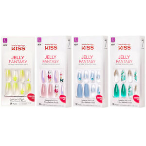 Kiss Jelly Fantasy Nail Clear Holographic Flower Butterfly Gel Matte Almond *1Pc