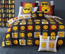 EMOJI LOL CHILL SNOOZE CHEEKY BLACK YELLOW COTTON BLEND KING SIZE DUVET COVER