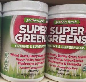 2 PACK 100% VEGAN GARDEN FRESH SUPER GREENS & SUPERFOODS POWDER GLUTEN FREE😉
