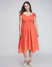 LANE BRYANT Womens sz 24 Sleeveless Cotton DRESS Eyelet Hem Elastic Empire Waist