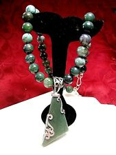 JAY KING DTR 925 STERLING SILVER GREEN JASPER BEADS STRAND PENDANT NECKLACE 18""