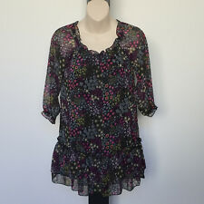 'CKM' EC SIZE '8' BLACK SHEER FLORAL PRINT LINED 3/4 SLEEVE TONG TOP