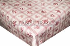 Vintage Checked Red Hearts PVC Tablecloth Vinyl Oilcloth Kitchen Dining Table