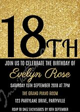 Diy Print Custom Gold Glitter 18Th 21St 30Th 40Th Etc Birthday Party Invitations