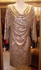 A Levine TAHARI gold/silver metallic stretch dress 3/4 long sleeve sz M 8-10 new
