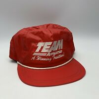 Team Affiliated A Winning Tradition Red Vinyl Trucker Hat Leather Strap Vintage