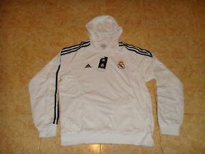 Real Madrid Soccer Hooded Top Spain Adidas Hoody Football Sweat Shirt NEW