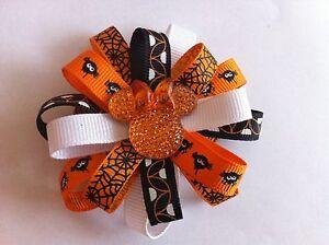 """Girls Hair Bow 3 """" Wide Flower Halloween Orange Minnie Grosgrain French Barrette"""