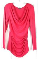 ADRIANNA PAPELL womens size M red ruched long sleeved stretch viscose blouse top