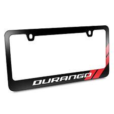 Dodge Durango Red Stripe Black Metal License Plate Frame, Made in USA Warranty