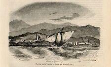 Stampa antica AJACCIO veduta dal mare barca Corsica Corse 1844 Gravure ancienne
