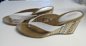 Metaphor Kandor White Pattened Leather Multi-Color Wedge Heels SIZE:11M NEW