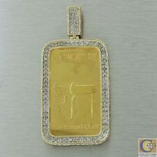 14k Yellow Gold 4.44ct Diamond Am Yisrael Chai 1oz Suisse Fine Gold Bar Peandant