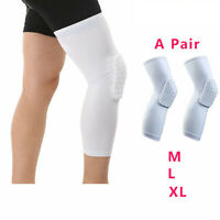 2Pcs Sport Knee Pads Leg Sleeves Protector Honeycomb Pad Crashproof White