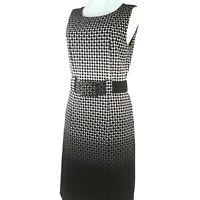 ILE New York Sleeveless Geometric Print Sheath Dress Size 6P Brown Black