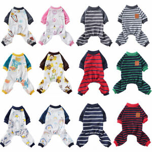 Small Pet Dog Jumpsuit Pajamas Cartoon Striped Puppy Cat Coat Homewear Clothes