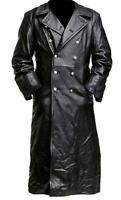 Men's German Classic WW2 Officer Military Uniform Black Faux Leather Trench Coat