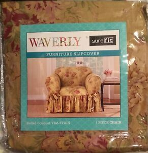 Waverly Sure Fit Ballad Bouquet One Piece Chair Slipcover tea stain floraL NEW