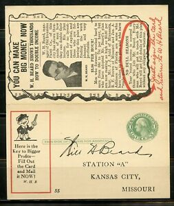 UNITED STATES FANTASTIC ADVERTISEMENT PREPRINTED REPLY POSTCARD USED 1927