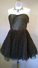 Oh My Love Mini Tutu Gold lace Corset Dress Size L BNWT RRP £69