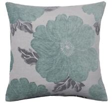 "POPPY DUCK EGG BLUE WHITE SILVER CHENILLE THICK CUSHION COVER 18"" - 45CM"