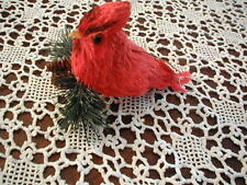 """New Red Cardinal Ornament on Evergreen Branch Figurine Wood Look 6"""" Long"""