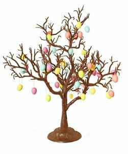Chocolate Brown Easter Twig Tree with Vibrant Faux Easter Egg Decorations