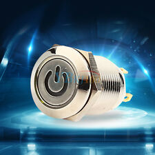 12V 9.5mm LED Metal Power Momentary Push Button Switch IP65 for Car DIY Modified