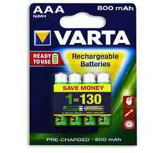 Varta 800mAh AAA READY-TO-USE RECHARGEABLE BATTERIES Cost Efficient Battery, 4Pc