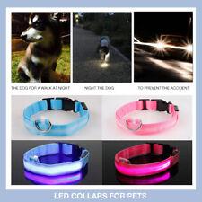 Dog Cat Pet Collar Safety Night LED Flashing Luminous Nylon Glow USB Rechargable